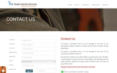 Screenshot of Contact Page tis-ites.com - Contact TIS, TIS Contact Form, Target Internet Services - captured May 20, 2019