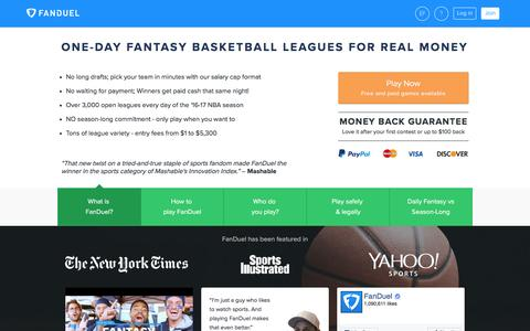 Fantasy Basketball - One-Day Leagues for Real Money 	 | FanDuel