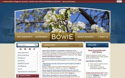 Screenshot of Home Page Terms Page cityofbowie.org - Bowie, MD - Official Website - captured Oct. 2, 2014
