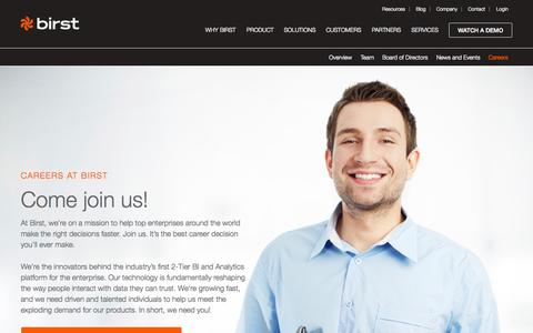 Screenshot of Jobs Page birst.com - Join Our Enterprise and BI Analytics Team - Birst Careers - captured Oct. 1, 2015