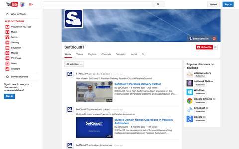Screenshot of YouTube Page youtube.com - SofCloudIT  - YouTube - captured Nov. 5, 2014
