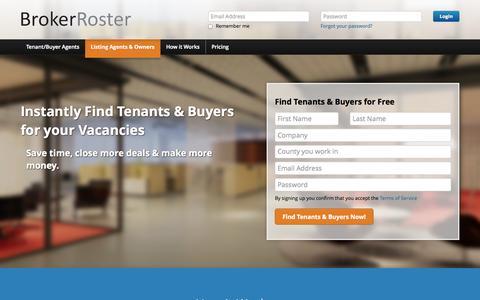 Screenshot of Signup Page brokerroster.com - Find New Office Space Tenants & Buyers | BrokerRoster - captured Sept. 30, 2014
