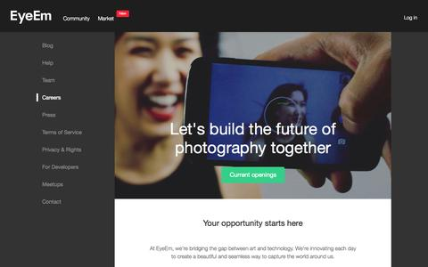 Screenshot of Jobs Page eyeem.com - Work @ EyeEm: Your Next Adventure - captured Sept. 13, 2014
