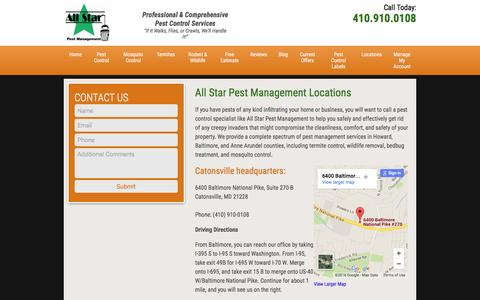 Screenshot of Locations Page allstarpestmanagement.com - Locations | All Star Pest Management - captured July 25, 2016