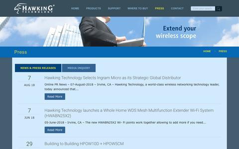 Screenshot of Press Page hawkingtech.com - Press - Hawking Technology - captured Sept. 27, 2018