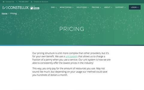 Screenshot of Pricing Page constellix.com - Constellix | Pricing - captured July 21, 2018