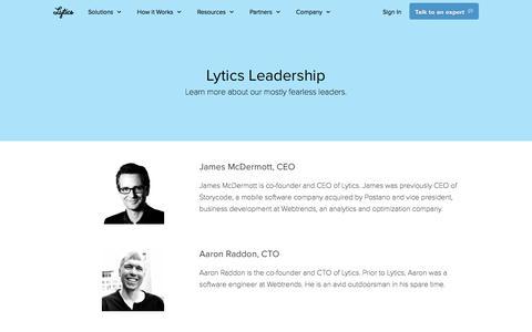 Screenshot of Team Page lytics.com - Lytics Leadership - captured April 11, 2018