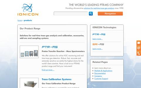Screenshot of Products Page ionicon.com - | Ionicon - captured Oct. 4, 2014