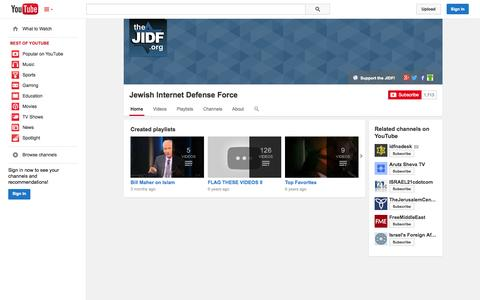 Screenshot of YouTube Page youtube.com - Jewish Internet Defense Force  - YouTube - captured Oct. 23, 2014