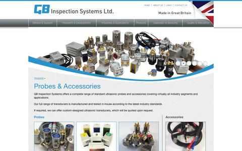 Screenshot of Products Page gbinspection.com - Probes & Accessories –  GB Inspection Systems Ltd. - captured Nov. 9, 2018