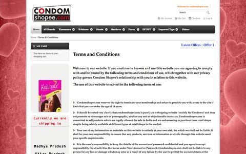 Screenshot of Terms Page condomshopee.com - Terms & Conditions - captured Oct. 27, 2014