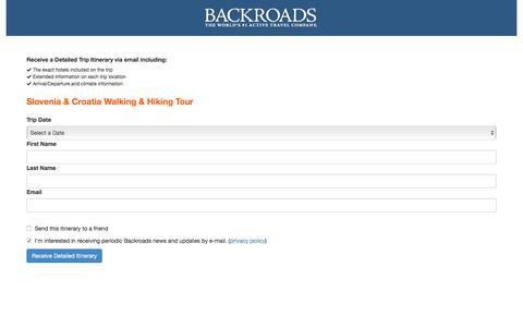 Screenshot of Landing Page backroads.com - MyBackroads - Detailed Itinerary - captured Sept. 30, 2017