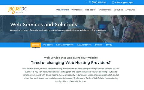 Screenshot of Services Page jaguarpc.com - Cloud Services - Backup Services - Wordpress Website Design - captured Oct. 13, 2018