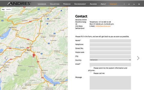 Screenshot of Privacy Page Contact Page aandres.com - Contact - AANDRES - Official Website - captured Dec. 22, 2015