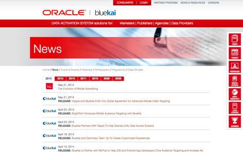Screenshot of Press Page bluekai.com - BlueKai | News - captured Oct. 31, 2014