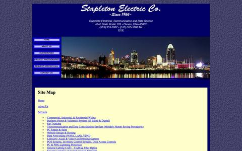 Screenshot of Site Map Page stapletonelectric.com - Cincinnati Electrician - Site Map - captured Oct. 6, 2014