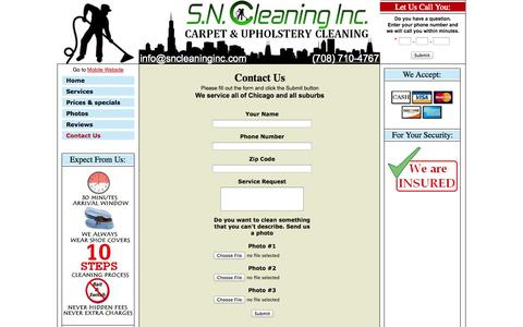 Screenshot of Contact Page sncleaninginc.com - Area Rugs cleaning / Chicago - captured Sept. 26, 2014