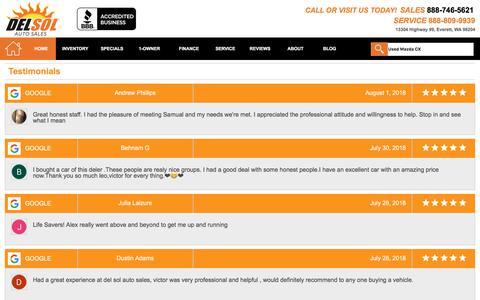 Screenshot of Testimonials Page delsolautosales.com - Customer Reviews, Testimonials - Del Sol Auto Sales - captured Aug. 5, 2018