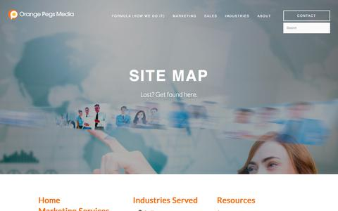 Screenshot of Site Map Page orangepegs.com - Site Map - Get right to business - captured Aug. 12, 2019