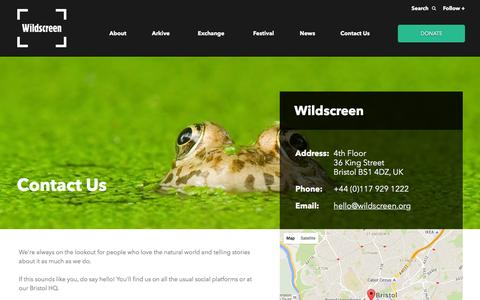 Screenshot of Contact Page wildscreen.org - Contact Us - captured Jan. 11, 2016