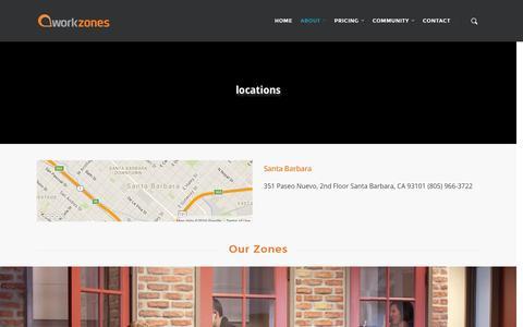 Screenshot of Locations Page workzones.com - Locations - workzones - captured Jan. 12, 2016