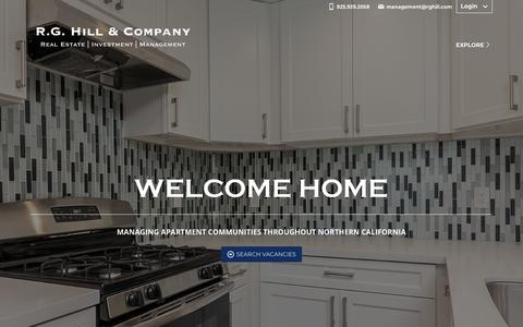 Screenshot of Home Page rghill.com - R.G. Hill & Company | Property Management and Real Estate in East Bay, SF - captured Nov. 15, 2018