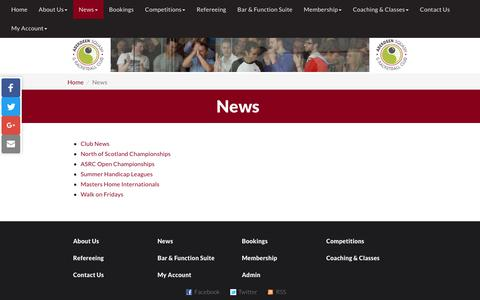 Screenshot of Press Page asrc.co.uk - News | Aberdeen Squash & Racketball Club - captured Oct. 2, 2018
