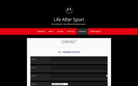 Screenshot of Contact Page lifeaftersport.co.uk - CONTACT – Life After Sport - captured July 11, 2017