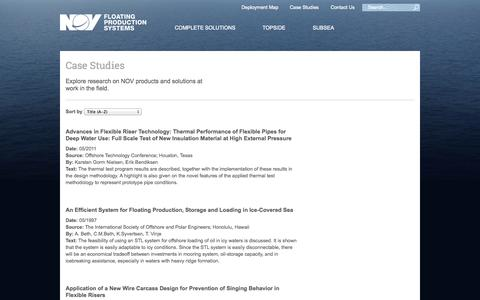 Screenshot of Case Studies Page nov.com - Case Studies | NOV Floating Production Solutions - captured Sept. 22, 2014