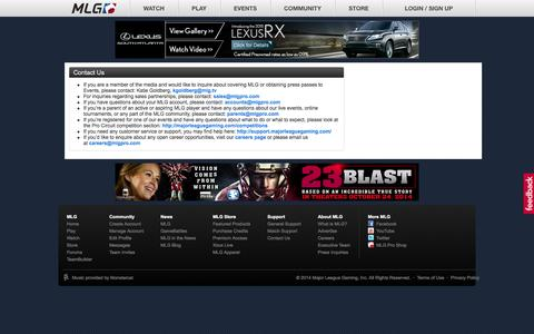 Screenshot of Contact Page majorleaguegaming.com - Contact | Major League Gaming - captured Oct. 22, 2014