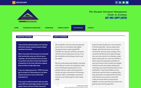 Screenshot of Testimonials Page technocopy.net - Testimonials   Technocopy - captured Nov. 15, 2018