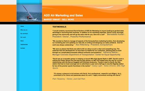 Screenshot of Testimonials Page addairmarketing.com - ADD Air  Marketing and Sales - captured Oct. 4, 2014