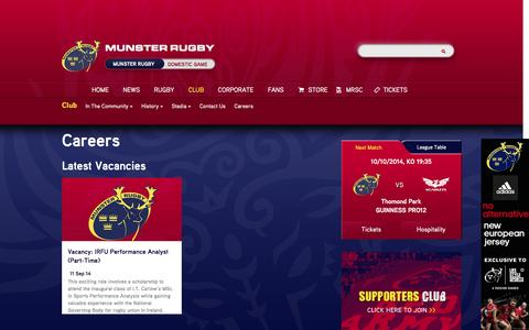 Screenshot of Jobs Page munsterrugby.ie - Club | Munster Rugby | Official Website : Careers - captured Oct. 6, 2014
