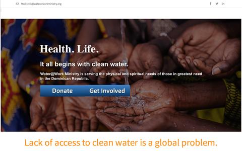 Screenshot of Home Page wateratworkministry.org - Water at Work Ministry - captured Feb. 13, 2016