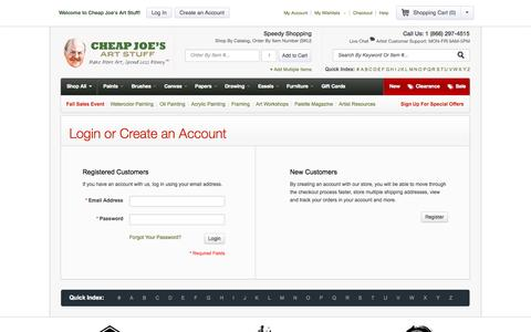 Screenshot of Login Page cheapjoes.com - Customer Login - Cheap Joe's Art Stuff - captured Sept. 25, 2014
