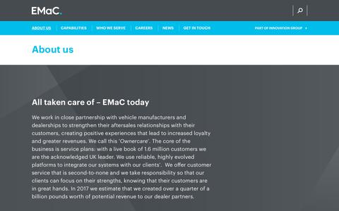 Screenshot of About Page emac.co.uk - About us | EMaC | Service Plans and Aftersales Partners - captured Nov. 4, 2018