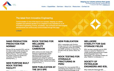 Screenshot of Press Page iesl-global.com - News | IESL - captured Oct. 6, 2014