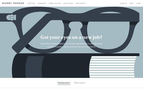 Screenshot of Jobs Page warbyparker.com - Jobs | Warby Parker - captured May 3, 2016