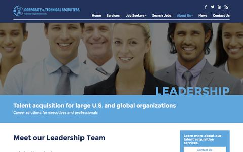 Screenshot of Team Page ctrecruiters.com - Leadership - Corporate and Technical Recruiters, Inc. - captured Feb. 1, 2016