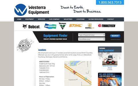 Screenshot of Locations Page westerraequipment.com - Locations | Westerra Equipment - captured Oct. 7, 2014