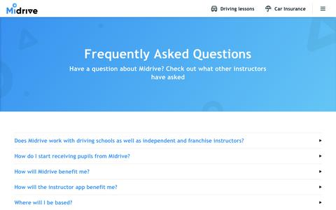 Screenshot of FAQ Page midrive.com - Frequently Asked Questions - Midrive Partners - captured Oct. 21, 2019