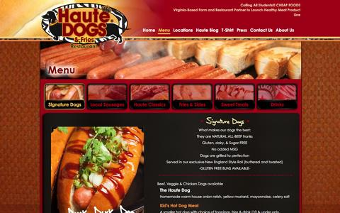 Screenshot of Menu Page hautedogsandfries.com - Signature Dogs | Haute Dogs & Fries | The Best Hot Dogs In Virginia | Purcellville & Alexandria Restaurants - captured Jan. 27, 2016