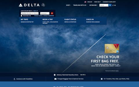 Screenshot of Home Page delta.com - Airline Tickets and Flights to Worldwide Destinations : Delta Air Lines - captured Dec. 26, 2015