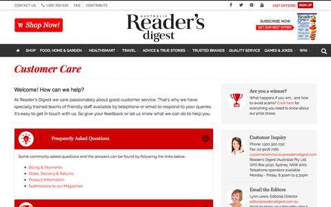 Screenshot of FAQ Page readersdigest.com.au - Customer Care | Reader's Digest Australia - captured June 21, 2017