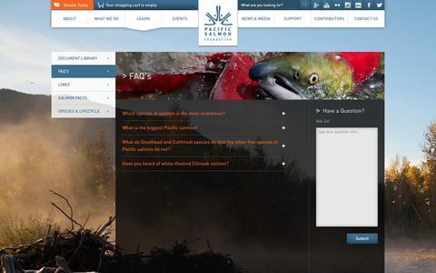 Screenshot of FAQ Page psf.ca - FAQ's   Pacific Salmon Foundation - captured Nov. 1, 2014