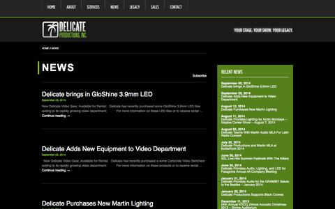Screenshot of Press Page delicate.com - News   Delicate Productions - captured Oct. 5, 2014