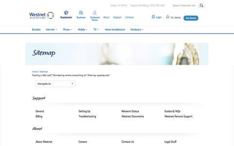Screenshot of Site Map Page westnet.com.au - Sitemap - Westnet Australia - captured Sept. 24, 2014