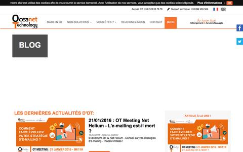 Screenshot of Blog oceanet-technology.com - Blog OT - Retrouvez nos actualit�s - captured Jan. 15, 2016