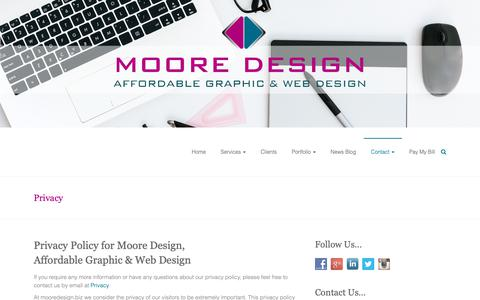 Screenshot of Privacy Page mooredesign.biz - Privacy | Moore Design - captured Oct. 20, 2018
