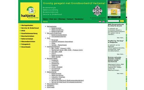 Screenshot of Site Map Page haitjema.nl - Grondboorbedrijf Haitjema B.V. uw specialist voor grondboringen, bronbemalingen, energieopslag, installaties: Sitemap - captured March 14, 2016